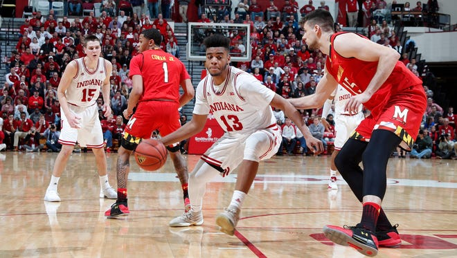Indiana Hoosiers forward Juwan Morgan (13) drives to the basket against Maryland Terrapins center Michal Cekovsky (15) during the first half at Assembly Hall.