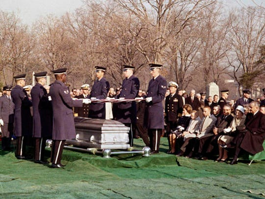 FILE - In this Jan. 31, 1967 file photo, mourners attend