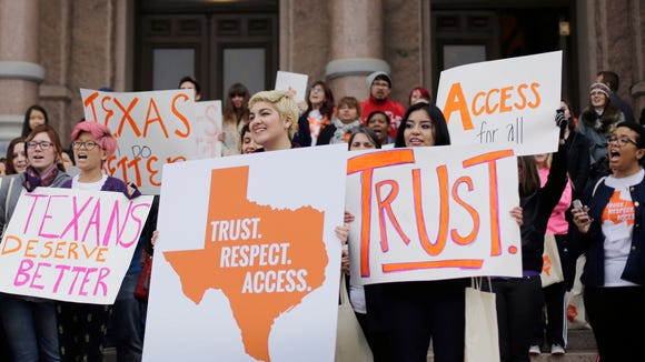 Abortion rights activists rally in February against Texas' abortion law.