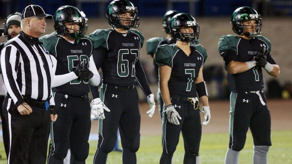 Yorktown defeated Burnt Hills 34-19 in the state Class A semifinal at Middletown High School Nov. 17, 2017.