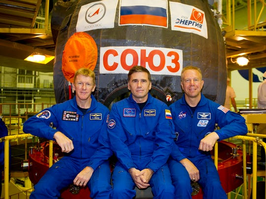 From left: ESA astronaut Tim Peake, commander-cosmonaut
