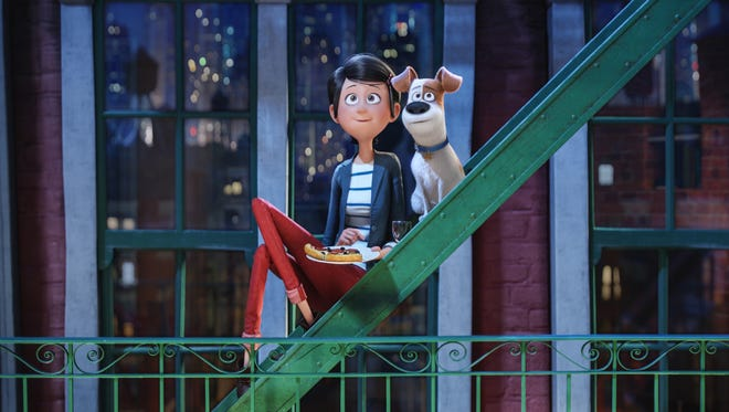 Katie (voiced by Ellie Kemper) shares a quiet moment with Max (Louis C.K.) in 'The Secret Life of Pets.'