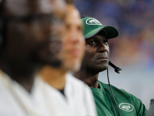 FILE - In this Aug. 19, 2017, file photo, New York Jets head coach Todd Bowles, right, watches during a preseason NFL football game against the Detroit Lions in Detroit. The Jets are 4-6 and have already won more games than most anyone expected. That's good news to some and bad news to others.  (AP Photo/Paul Sancya)