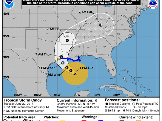The forecast path for Tropical Storm Cindy.