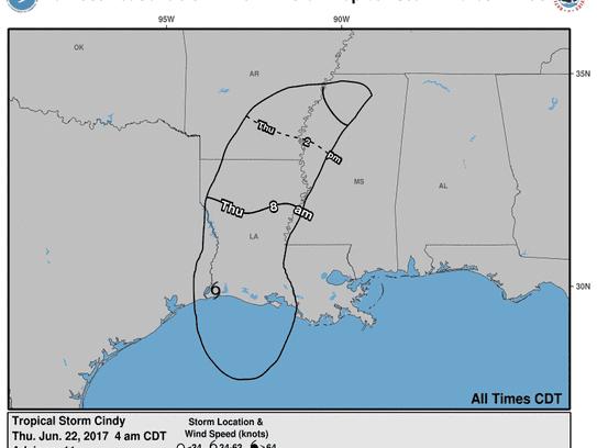 Tropical Storm Cindy, 8 a.m., June 22, 2017.