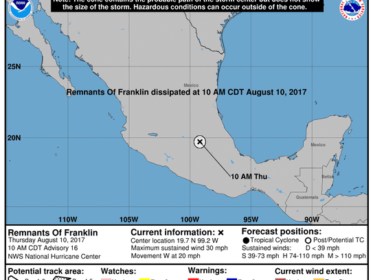 Franklin weakens over Mexico 11 a.m., Aug. 10, 2017.