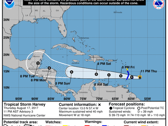 Projected path of Tropical Storm Harvey as of 11 p.m.