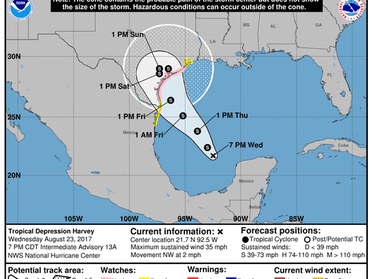 Projected path of Tropical Depression Harvey as of