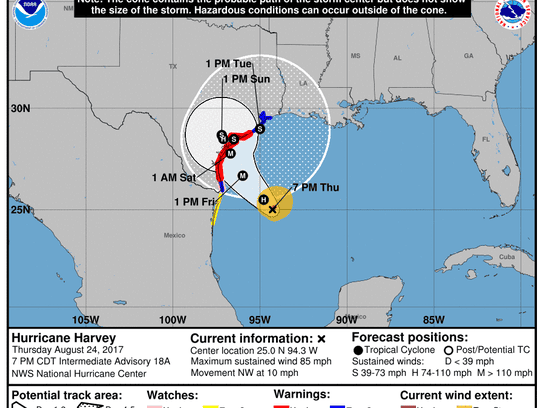 Projected path of Hurricane Harvey as of 8 p.m. Thursday,