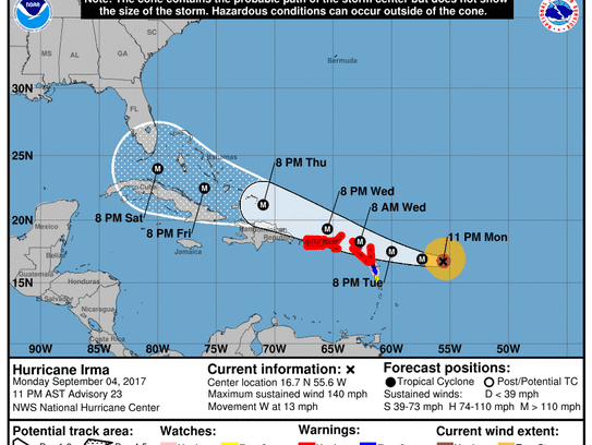 Hurricane Irma at 11 p.m. Monday, Sept. 4, 2017.
