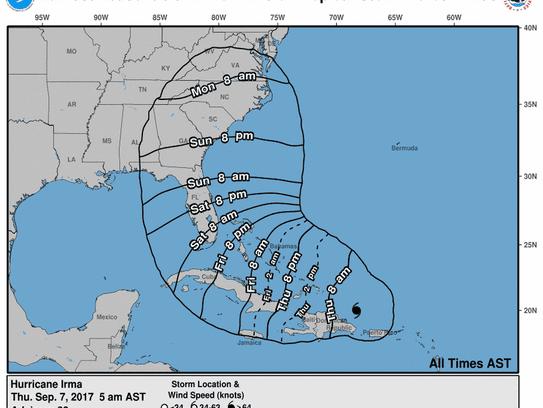 Hurricane Irma 5 a.m. Sept. 7, 2017