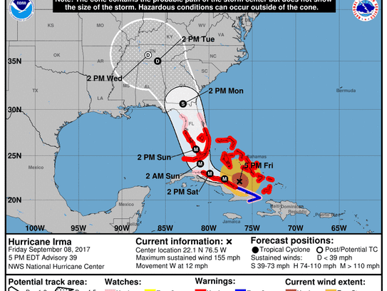 Updated map as of 5 p.m. Eastern time.
