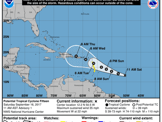 The forecast cone for Tropical Cyclone 15 as of 11