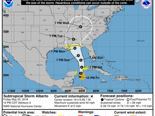 Alberto's track as of 11 p.m. ET Friday.