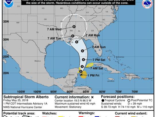 Subtropical Storm Alberto 2 p.m. May 25, 2018.