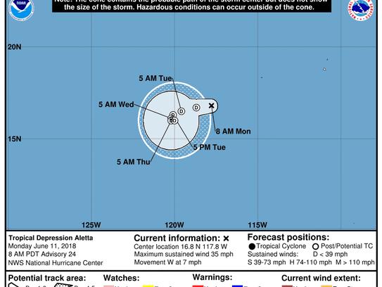Tropical Depression Aletta 3 p.m. June 11, 2018.