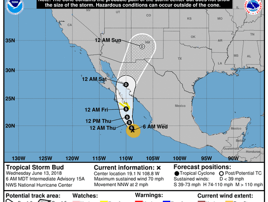 Tropical Storm Bud 8 a.m. June 13, 2018.
