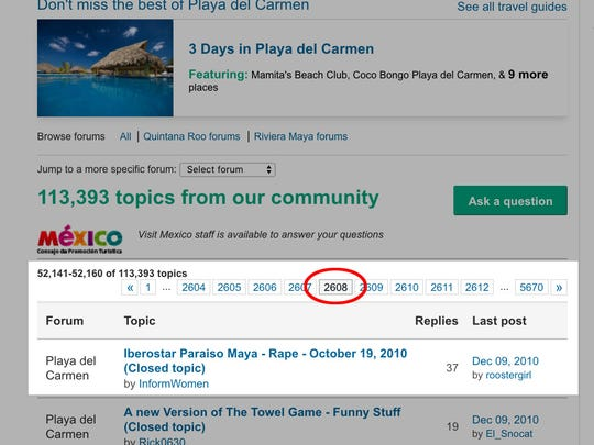 TripAdvisor republished Kristie Love's original post telling how she was raped at a resort in Mexico. The page number in red shows it landed on page 2,608, behind thousands of newer comments.