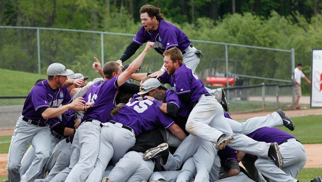 The UW-Whitewater baseball team celebrates its last Division III championship, in 2014.