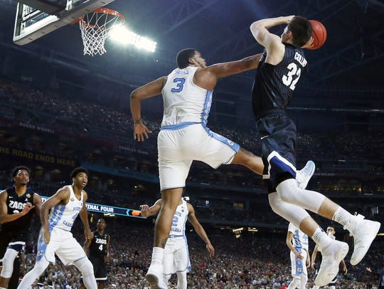 North Carolina's Kennedy Meeks (3) blocks the shot