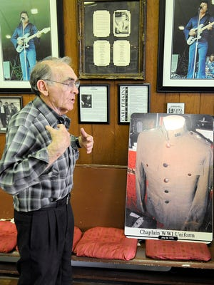 Henry Harrison talks about a Chaplain jacket at the International Rock-A-Billy Hall of Fame in Jackson, Tenn., on Monday, Nov. 21, 2016.