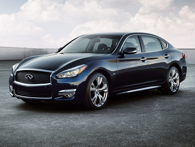 The 2015 Infiniti Q70L, a new long-wheelbase version of the refreshed Q70. The Q70L will be priced $52,255 to start for the 3.7-liter V-6 rear drive model to $67,955 to start for the 5.6-liter V-8 all-wheel drive model.