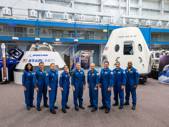 NASA on Friday, Au. 3, introduced the first U.S. astronauts who will fly on American-made commercial spacecraft to and from the International Space Station – an endeavor that will return astronaut launches to U.S. soil for the first time since the space shuttle's retirement in 2011. The agency assigned nine astronauts to crew the first test flight and mission of both Boeing's CST-100 Starliner and SpaceX's Crew Dragon. The astronauts are, from left to right: Sunita Williams, Josh Cassada, Eric Boe, Nicole Mann, Christopher Ferguson, Douglas Hurley, Robert Behnken, Michael Hopkins and Victor Glover.