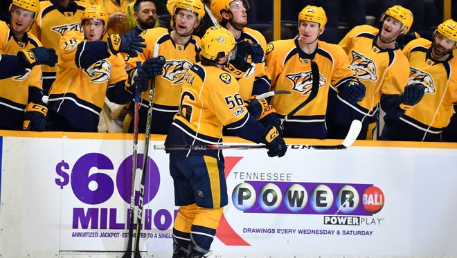 Predators forward Kevin Fiala scored one of the team's three goals against the Wild on Saturday, April 1, 2017.
