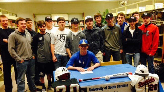 The North Buncombe baseball team at Ryan Rickey's college signing.