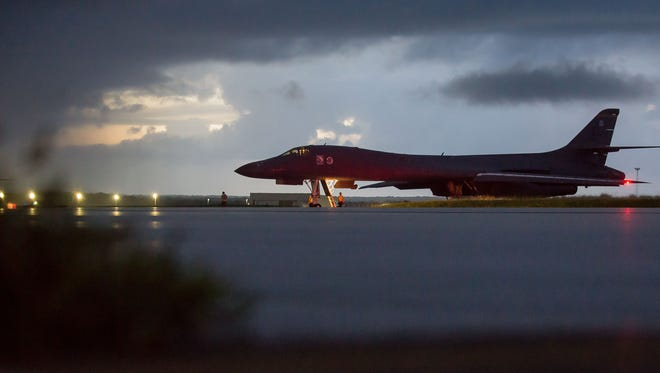 A U.S. Air Force B-1B Lancer, assigned to the 37th Expeditionary Bomb Squadron, deployed from Ellsworth Air Force Base, South Dakota, prepares to take off from Andersen AFB, Guam, Sept. 23, 2017.