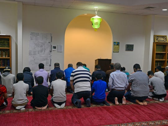 Evening prayers Saturday night during the Islamic Center