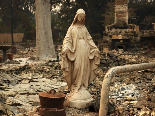 Fire damage is seen in Glen Ellen, Calif. on Oct. 11,