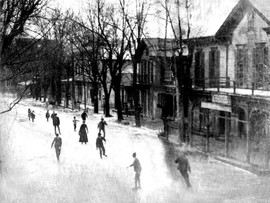 Residents skate on High Street in Seaford in the early