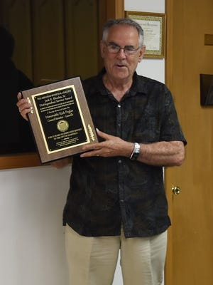 Rick Peglar was recently awarded the Arkansas Municipal League's Jack R. Rhodes Sr. Award for 25 years of service to the City of Gassville as an elected official. The long-time city council member has announced that he will not seek re-election in November.