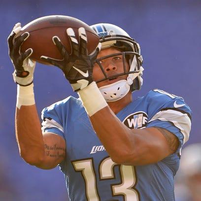 Detroit Lions wide receiver TJ Jones catches a pass