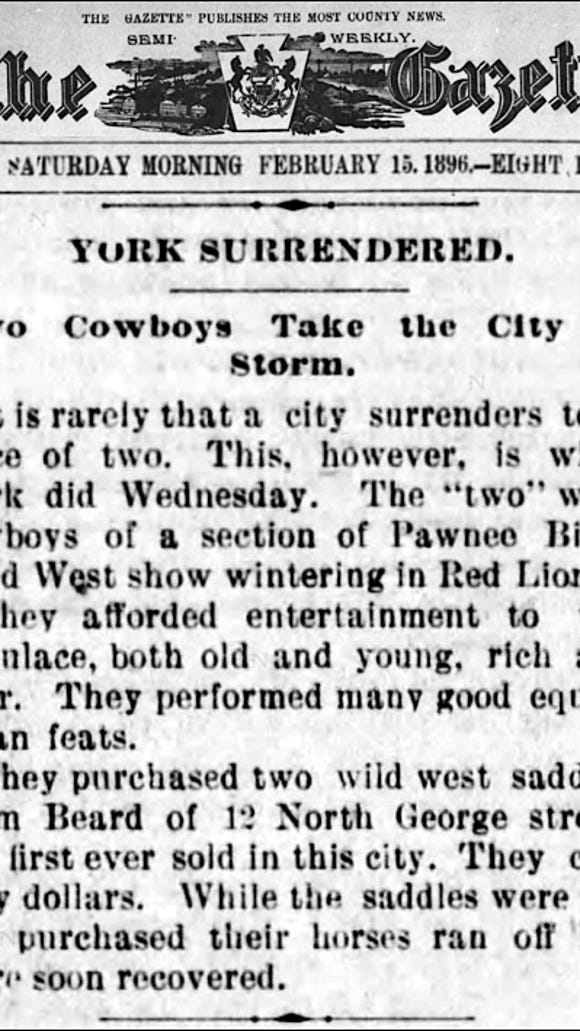 York Surrendered article (The Semi-Weekly Gazette, York, PA; issue of February 15, 1896)