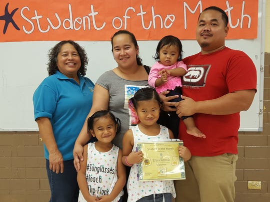 The Guahan Academy Charter School honored its September Student of the Month awardees on Oct.12. Pictured from left (front row): Ella Renuk and Elisa Renuk. Pictured from left (back row): Mary Mafnas, Dean of Elementary School Guahan Academy Charter School; Louisa Renuk; Elsa Renuk and Elias Renuk;