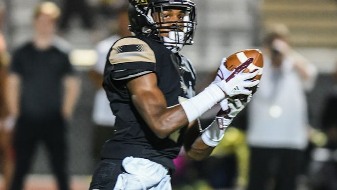 Northwest Rankin's Jarrion Jones (7) makes a reception for a first half touchdown against Provine during game action Friday, October 6th, 2017  in Flowood, MS.(Bob Smith-For the Clarion Ledger)