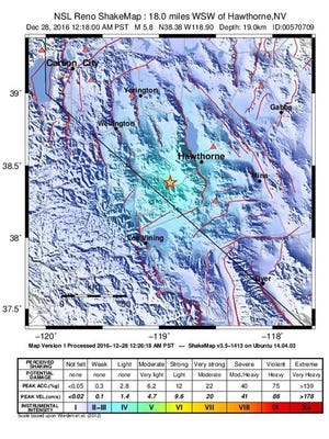 A shake map made available from the United States Geological Survey shows the location of a 5.7 magnitude earthquake that struck Dec. 28, 2016, about 18 miles southwest Hawthorne, Nev.
