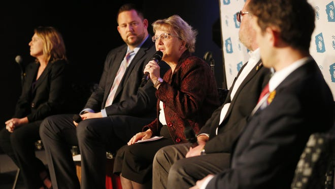 Arizona Schools Superintendent Diane Douglas (center) speaks during a forum in Scottsdale, Ariz. February 20, 2018. Arizona Talks hosted a forum on the superintendent's role in education.