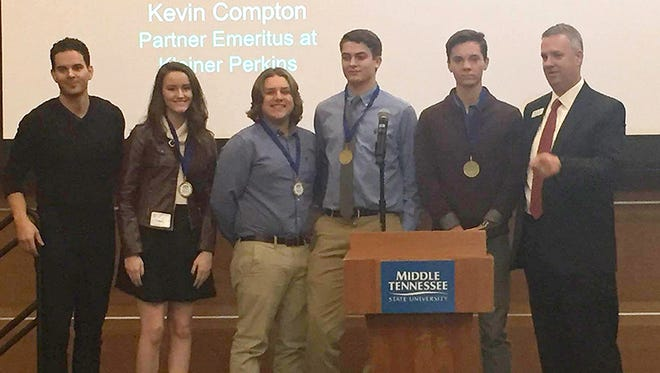 from left, Steven Buhrman, CEO of Wannado; Sycamore High School students Lindsey Hunsicker, Bailey Higgins, William Stuart and Joe Rust; and Dr. William McDowell of Middle Tennessee State University. The Sycamore team won third place overall at Middle Tennessee State University's Entrepreneurship Fair.