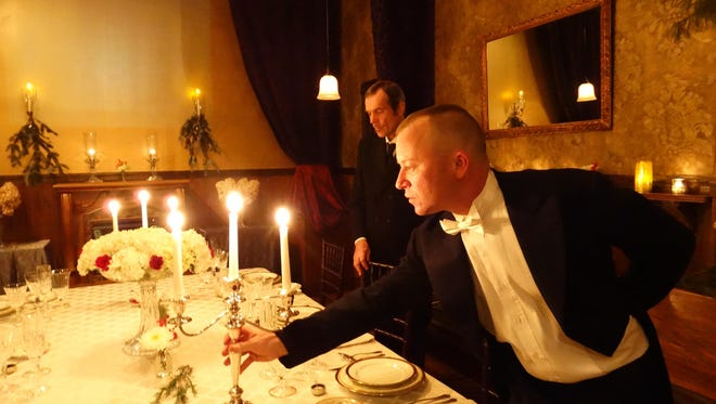 """A moment from the """"Downton Abbey"""" dinner rehearsal. Photo by Joseph B. Malki."""
