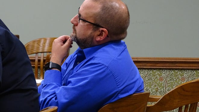 Clyde-Green Springs Superintendent David Stubblebine listens during his trial on Thursday in Sandusky County Court District No. 1 in Clyde.