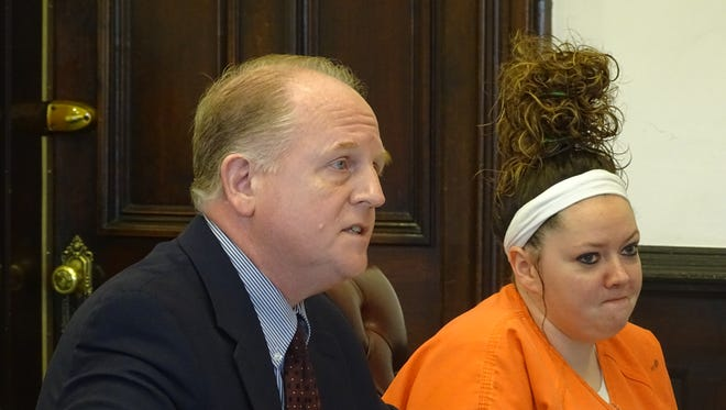 Amber Edwards, 27, of Newcomerstown, was sentenced to serve four years in prison on a charge of aggravated arson. She appeared in Coshocton County Common Pleas Court Tuesday with her attorney, Public Defender Jeff Mullen.