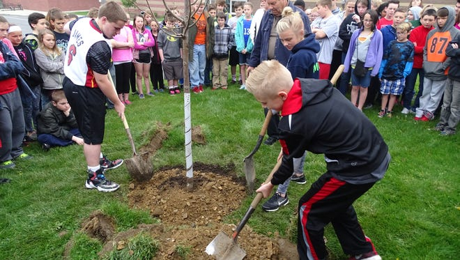 Student Council officers Mitchell Nelson, Keeley Murray and Alec Laaper, clockwise from left, help plant a linden tree Friday morning in celebration of Arbor Day at Coshocton Elementary School.