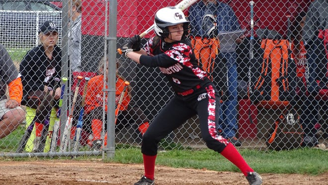 Ally Stein stands in the batters box in Monday's win over Claymont.