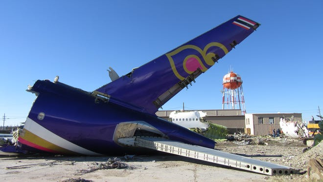 """The remains of a Thai Airways Airbus A300 are seen at the Roswell """"boneyard"""" on Dec. 4, 2015."""