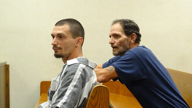 David James McFadden, 33, left, and his father, David Samuel McFadden, 60, right, have been indicted on felony drug charges linked to the alleged manufacturing of methamphetamine.