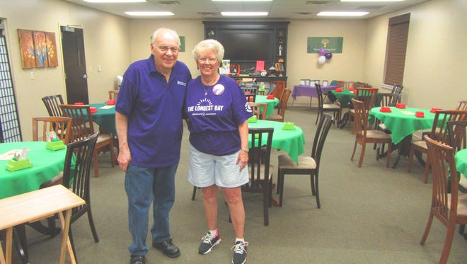 The Mountain Home Duplicate Bridge Club raised $1,327 in their Alzheimer's Association fundraiser, THE LONGEST DAY (June 20). They played bridge all day to raise funds for the Alzheimer's Cause. The funds will be sent to the Alzheimer's Association for the support and research of the Alzheimer's disease. Shown are two participants, Stan Stankus and Carol Stansbury.