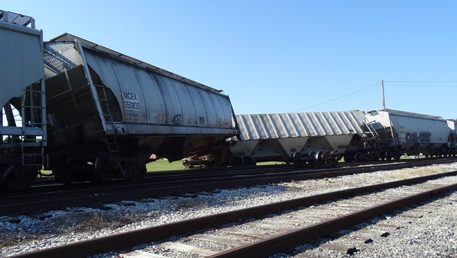 Two Norfolk Southern rail cars derailed on the tracks near US 20 and Ohio 101 while on its way towards the grain elevator at Sunrise Cooperative. Despite the derailment, production was not affected, and trains are able to pass through.